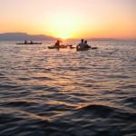Coucher de soleil sur l'eau, l'une des nombreuses prestations de la base nautique
